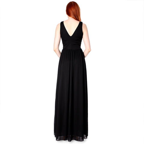 Evanese Women's Chiffon Matte Jersey Long Dress with Rouched Empire Line - ellemore.com