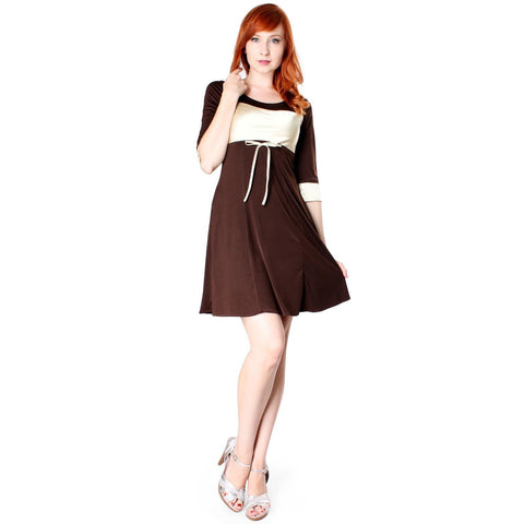 Evanese Women's Short 3/4 Sleeve Cocktail Day Dress with Contrast Band Cuffs - ellemore.com