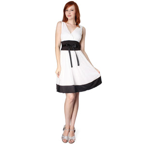 Evanese Women's Short Evening Cocktail Knee Length Dress with Satin Tapes - ellemore.com