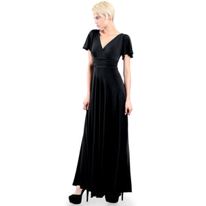 Evanese Women's Slip on Evening Party Formal Long Dress Gown with Short Sleeves Black Front