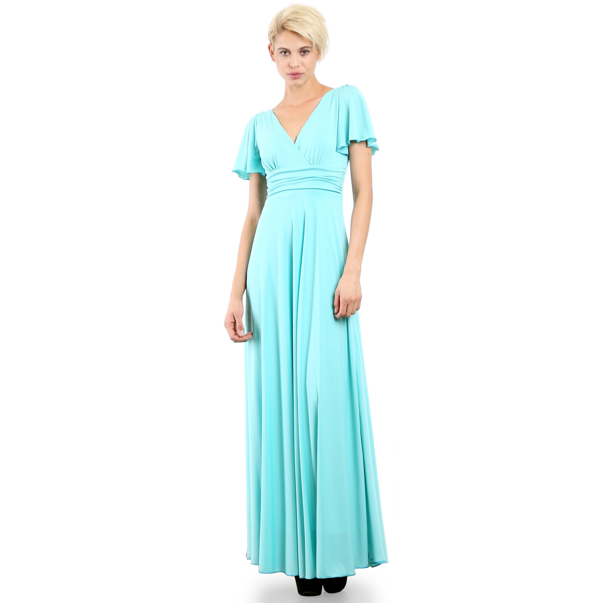 Evanese Women's Slip on Evening Party Formal Long Dress Gown with Short Sleeves Mint Front plus size