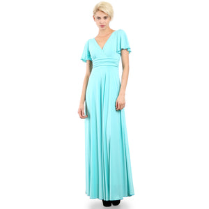Evanese Women's Slip on Evening Party Formal Long Dress Gown with Short Sleeves Mint Front