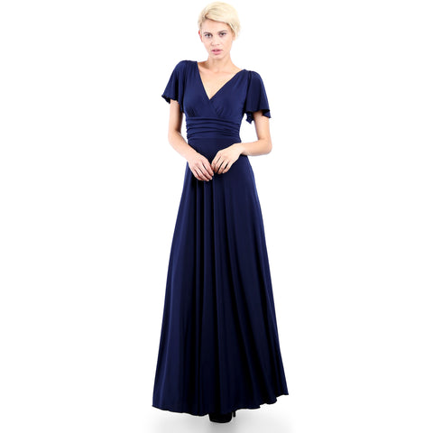 Evanese Women's Slip on Evening Party Formal Long Dress Gown with Short Sleeves Navy Front
