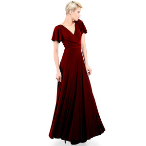 Evanese Women's Slip on Evening Party Formal Long Dress Gown with Short Sleeves Wine Front