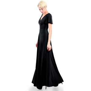 Evanese Women's Slip on Evening Party Formal Long Dress Gown with Short Sleeves Black Side Back