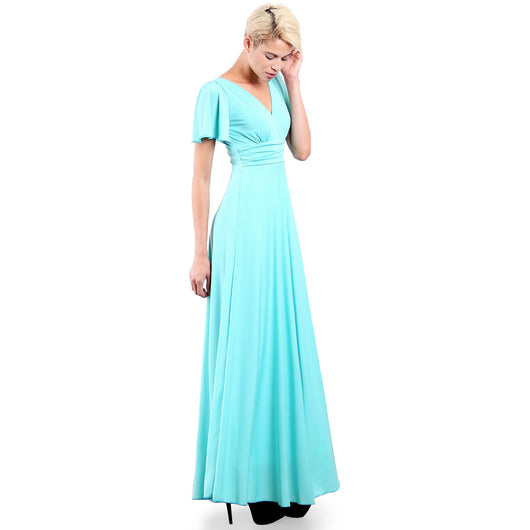 Evanese Women's Slip on Evening Party Formal Long Dress Gown with Short Sleeves Mint Side plus size