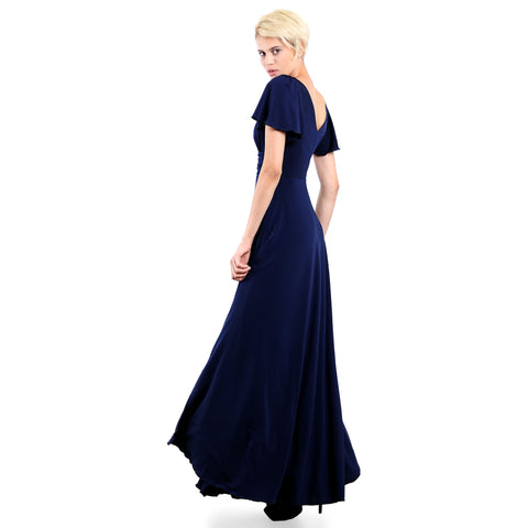 Evanese Women's Slip on Evening Party Formal Long Dress Gown with Short Sleeves Navy Side Back