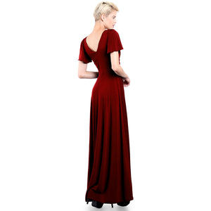 Evanese Women's Slip on Evening Party Formal Long Dress Gown with Short Sleeves Wine Side Back