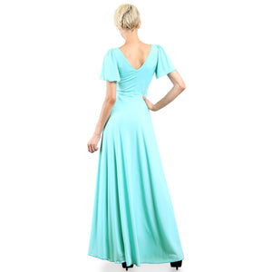 Evanese Women's Slip on Evening Party Formal Long Dress Gown with Short Sleeves Mint Back plus size