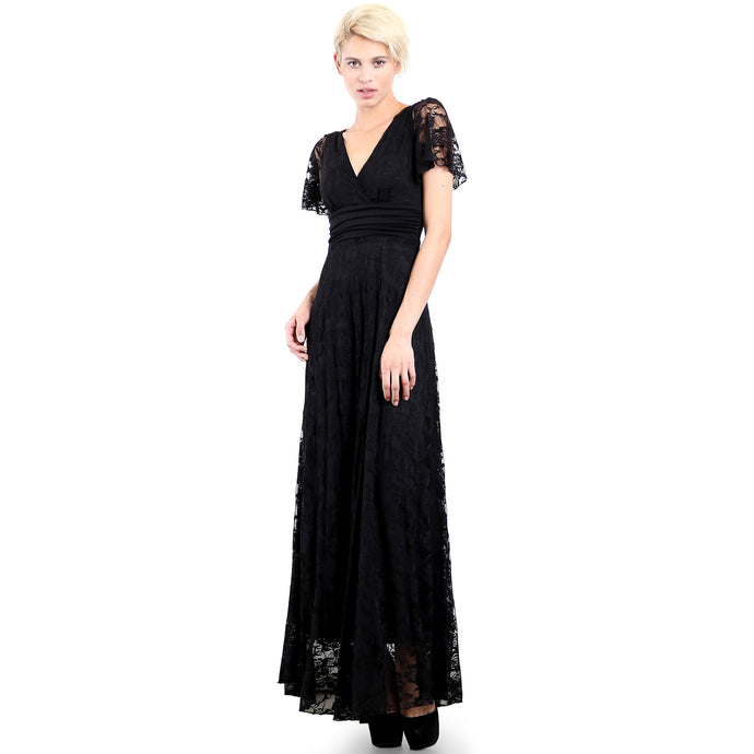 Evanese Women's Lace Evening Party Formal Long Dress Gown with Short Sleeves XS, Black