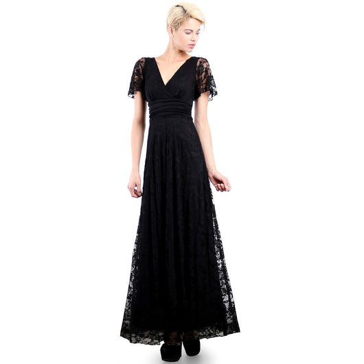 Evanese Women's Lace Evening Party Formal Long Dress Gown with Short Sleeves S, Black