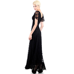 Evanese Women's Lace Evening Party Formal Long Dress Gown with Short Sleeves M, Black