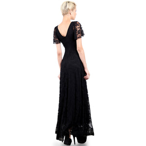 Evanese Women's Lace Evening Party Formal Long Dress Gown with Short Sleeves L, Black