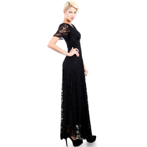 Evanese Women's Lace Evening Party Formal Long Dress Gown with Short Sleeves XL, Black