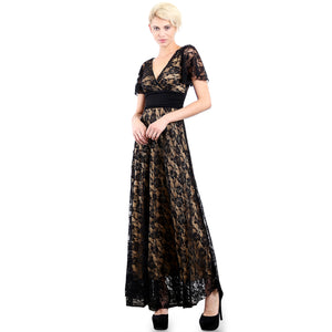 Evanese Women's Lace Evening Party Formal Long Dress Gown with Short Sleeves XS, Black/Tan