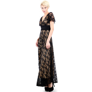 Evanese Women's Lace Evening Party Formal Long Dress Gown with Short Sleeves S, Black/Tan