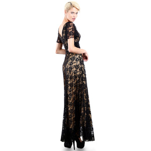 Evanese Women's Lace Evening Party Formal Long Dress Gown with Short Sleeves M, Black/Tan