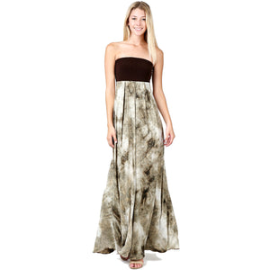 Evanese Women's Elegant Cocktail Strapless Tube Tie dye Print Maxi Long Dress