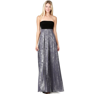 Evanese Women's Elegant Cocktail Strapless Tube Metallic Print Maxi Long Dress