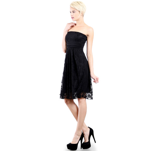 Evanese Women's Cocktail Party Strapless Tube Lace Dress w Inverted Pleat Skirt S, Black