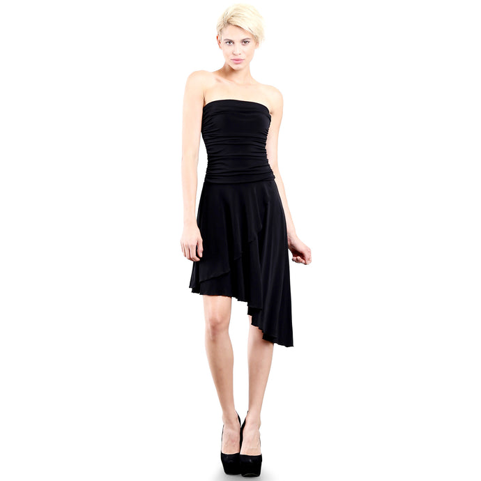 Evanese Women's Cocktail Party Strapless Tube Dress with Asymmetrical Skirt XS, Black