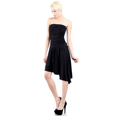 Evanese Women's Cocktail Party Strapless Tube Dress with Asymmetrical Skirt S, Black