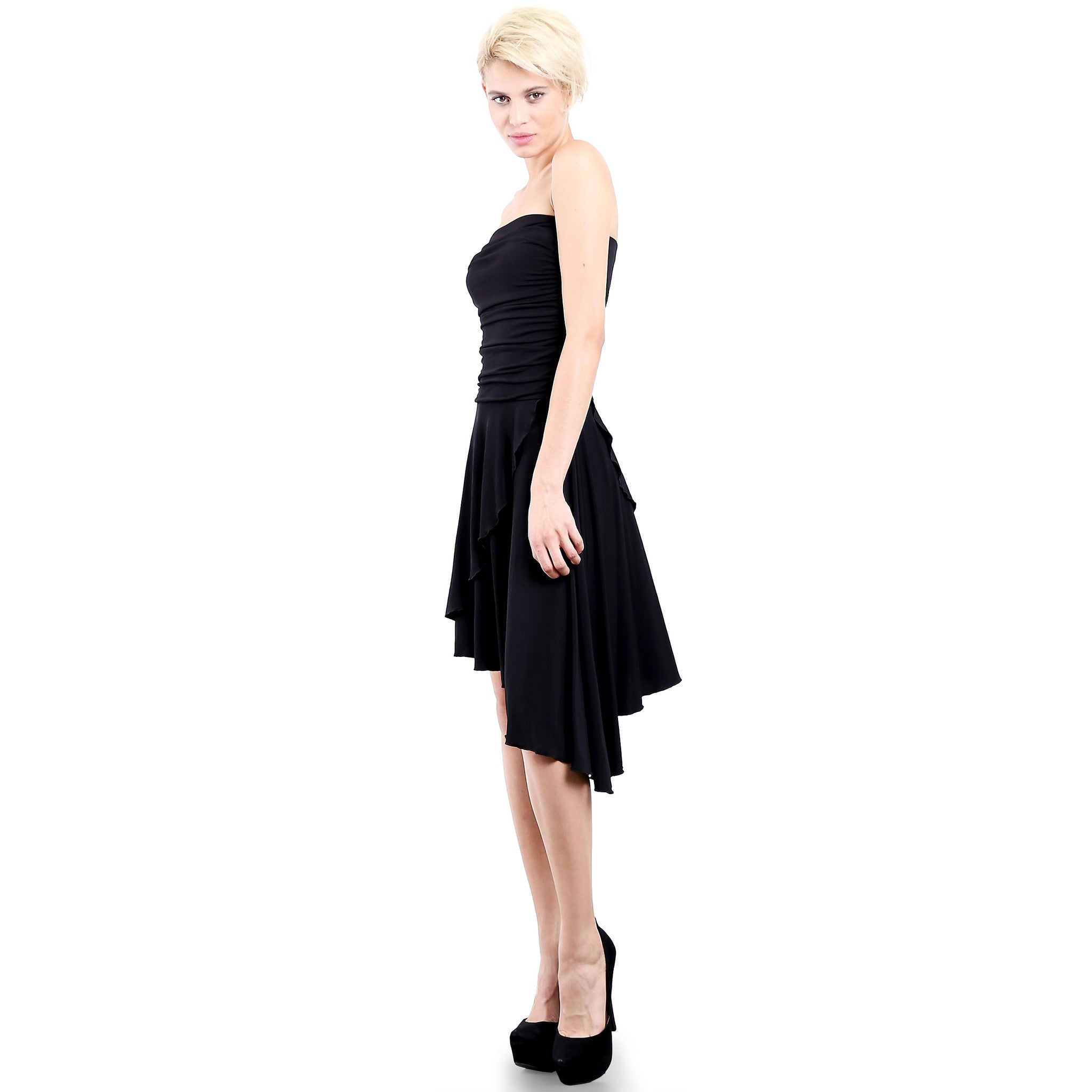 9c34991323 ... Evanese Women s Cocktail Party Strapless Tube Dress with Asymmetrical  Skirt M