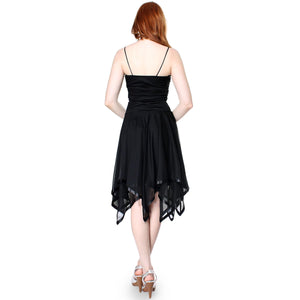 Evanese Womens Romantic Polyester Sheer A Line Cocktail Dress with Satin Trim - ellemore.com