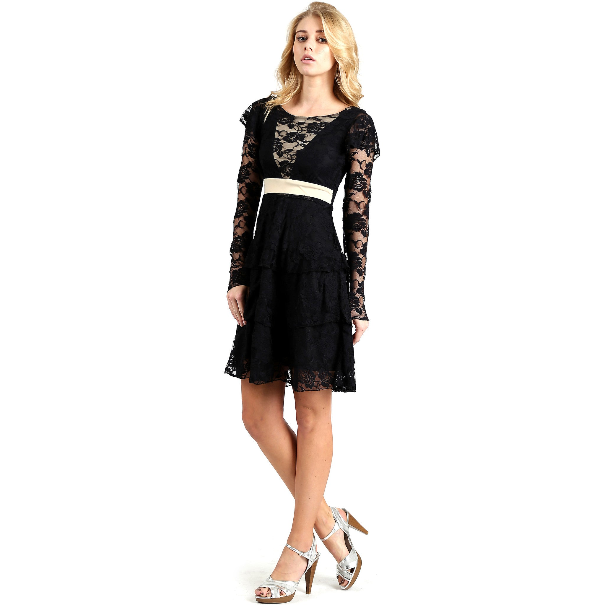 Evanese Women's Elegant Lace Cocktail Tiered Short Skirt Dress with Long Sleeves XS, Black