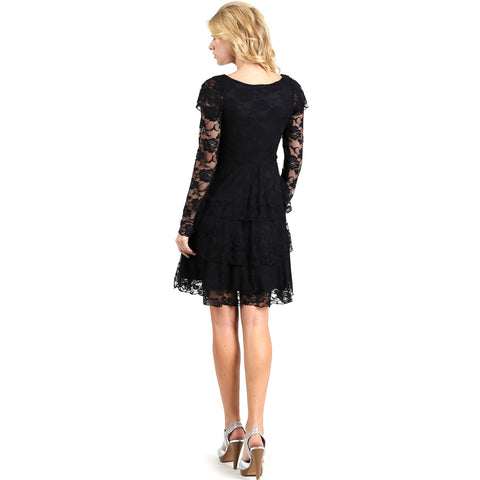 Evanese Women's Elegant Lace Cocktail Tiered Short Skirt Dress with Long Sleeves S, Black