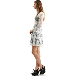 Evanese Women's Elegant Lace Cocktail Tiered Short Skirt Dress with Long Sleeves XL, Creme