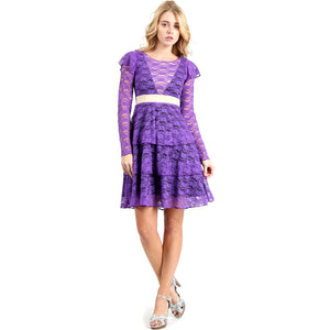 Evanese Women's Elegant Lace Cocktail Tiered Short Skirt Dress with Long Sleeves M, Purple