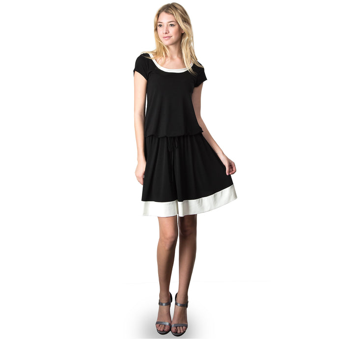 Evanese Women's Short Sleeve Color Block Casual Knee Length Dress XS, Black/Cream
