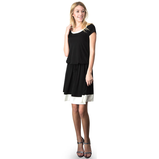 Evanese Women's Short Sleeve Color Block Casual Knee Length Dress S, Black/Cream