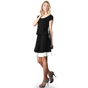 Evanese Women's Short Sleeve Color Block Casual Knee Length Dress M, Black/Cream