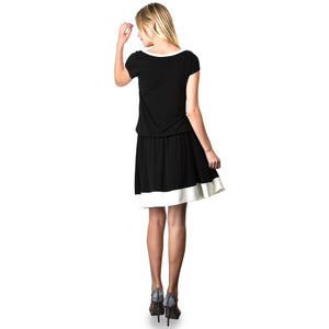 Evanese Women's Short Sleeve Color Block Casual Knee Length Dress L, Black/Cream