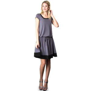 Evanese Women's Short Sleeve Color Block Casual Knee Length Dress XL, Black/Cream