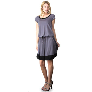Evanese Women's Short Sleeve Color Block Casual Knee Length Dress XS, Grey/Black