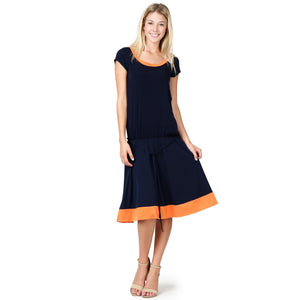 Evanese Women's Short Sleeve Color Block Casual Knee Length Dress XL, Navy/Orange