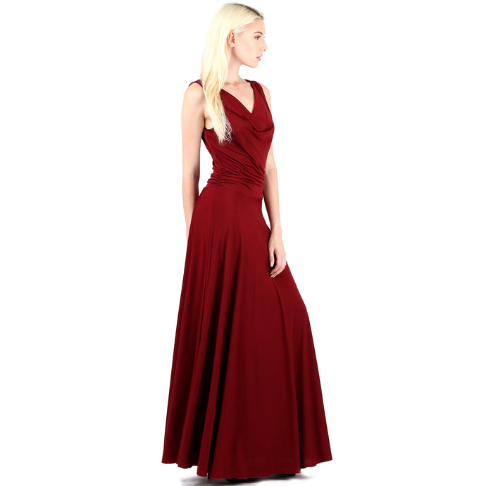 Evanese Women's Classic Elegant Cowl Neck Sexy Long Gown Sleeveless Dress XS, Wine