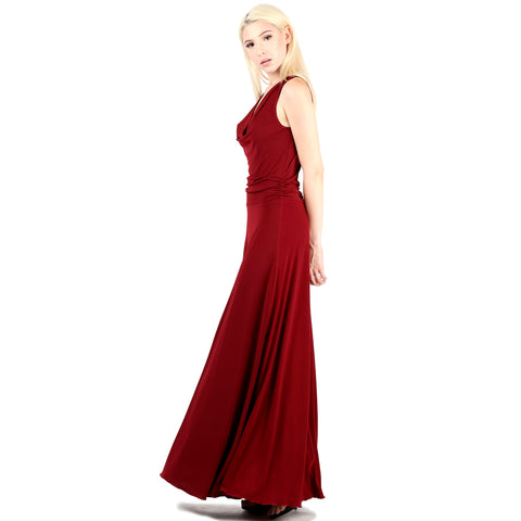 Evanese Women's Classic Elegant Cowl Neck Sexy Long Gown Sleeveless Dress S, Wine