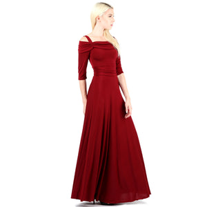 Evanese Women's Slip on Formal Long Eveing Party Dress Gown with 3/4 Sleeves XS, Wine