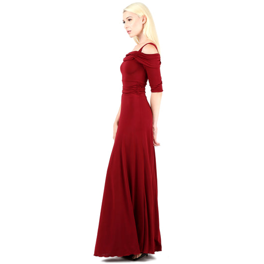 Evanese Women's Slip on Formal Long Eveing Party Dress Gown with 3/4 Sleeves S, Wine