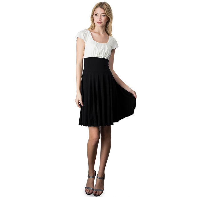 Evanese Women's Short Sleeve Pleat Top and A Line Circle Skirt Cocktail Dress XS, Black/Cream