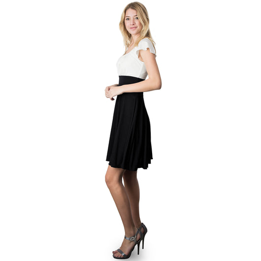 Evanese Women's Short Sleeve Pleat Top and A Line Circle Skirt Cocktail Dress S, Black/Cream