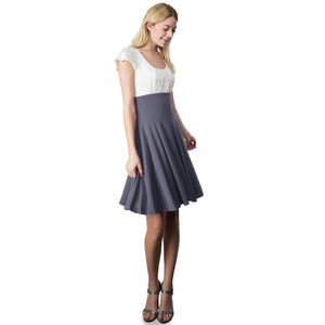 Evanese Women's Short Sleeve Pleat Top and A Line Circle Skirt Cocktail Dress L, Black/Cream