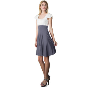 Evanese Women's Short Sleeve Pleat Top and A Line Circle Skirt Cocktail Dress XL, Black/Cream