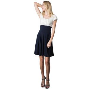 Evanese Women's Short Sleeve Pleat Top and A Line Circle Skirt Cocktail Dress XL, Navy/Cream