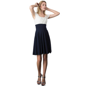 Evanese Women's Short Sleeve Pleat Top and A Line Circle Skirt Cocktail Dress M, Gray/Cream