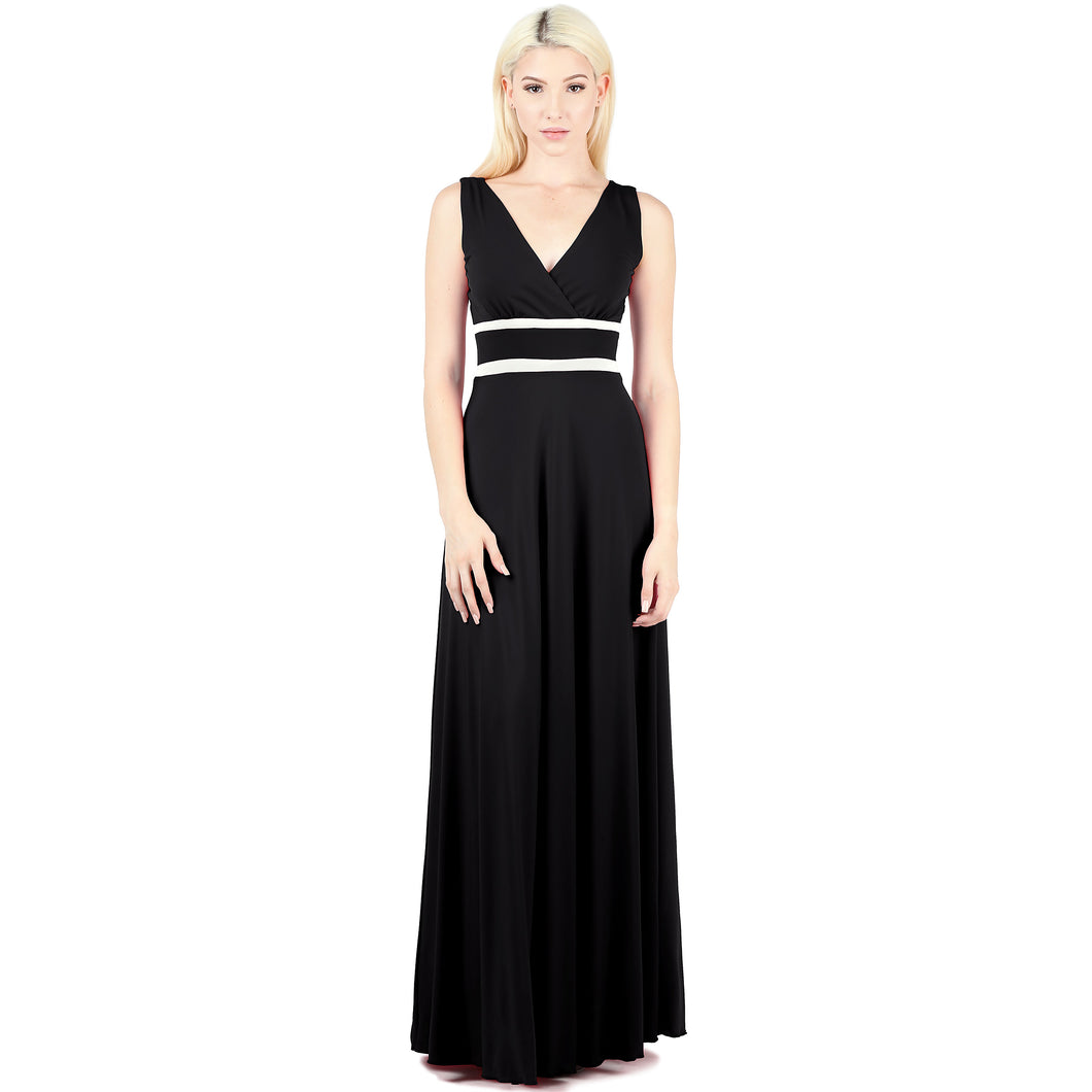 Evanese Women's Elegant Sleeveless Evening Party Formal Long Dress with Contrast XS, Black/Cream